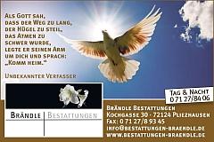 Brändle Bestattungen Pliezhausen, Kusterdingen, Altenriet Anzeige KW 19